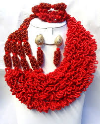 beads wedding necklace images Latest design red 4 layers african nigerian wedding beads design jpg