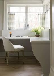 Quartz Table L L Shaped Desk Windows With White And Gray Stripe Cafe