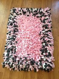 Rag Rug Directions Pink And Gray Fleece Rag Rug 35 X 27 Shaggy Soft On Etsy 125 00
