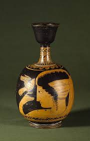 Greek Vase Painting Techniques Lekythos With Woman And Bird South Italian C 340 Bc Greek