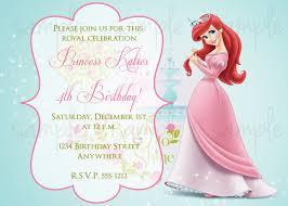 Princess Invitation Card Princess Ariel Birthday Invitation