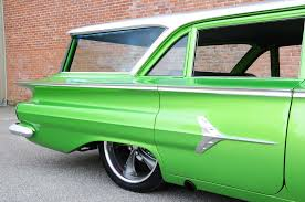 dark green station wagon blown big block chevy power pulls 1960 chevy parkwood wagon