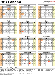 2014 calendar with federal holidays excel pdf word templates