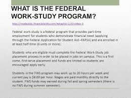 student financial services federal work study program ppt video