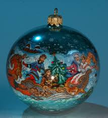 russian christmas kholuy style collectible hand painted glass