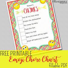 clean emoji my fashionable designs free printable emoji chore chart fillable pdf