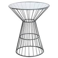 Overstock Round Coffee Table - grey wire framed side table with glass top overstock shopping