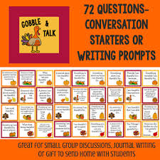 thanksgiving conversation starters and writing prompts tpt