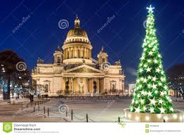 st isaac u0027s cathedral and christmas tree st petersburg russia