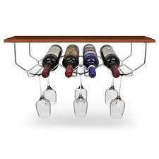 under cabinet wine rack and glassware holder holds 6 bottles and