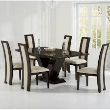 Ophelia Marble Dining Table In Brown With  Allie Cream - Marble dining room furniture