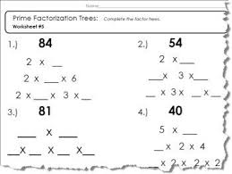 prime numbers and factors worksheet prime factor tree worksheet 1 of 5 pdf and answers