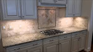 travertine backsplash with herringbone inlay youtube