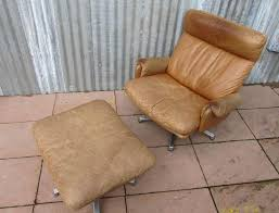 Swivel Chair Leather by Mid Century Leather Lounge Swivel Chair With Ottoman For Sale At
