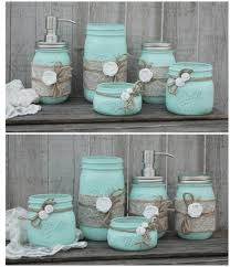 mason jar bathroom set mint green shabby chic soap dispenser
