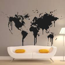graphic design home decor art new design home decoration spray paint world map wall decals