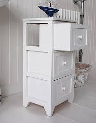 Freestanding Bathroom Furniture Uk Maine Slim Freestanding Bathroom Cabinet With 3 Drawers For Storage