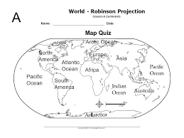 a world robinson projection oceans u0026 continents name date