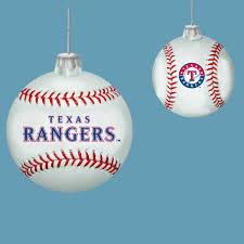 pack of 6 mlb rangers glass baseball ornaments