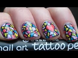 colourful mosaic nail art with essence tattoo pen youtube