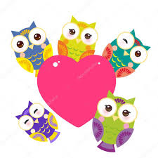 set bright colorful owls card design with a funny animal with pink