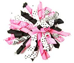 wholesale hair accessories dazzling zebra curly ribbon korker hair bow clip 4
