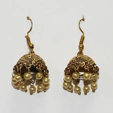 jhumka earrings shopieo shining pearl gold plated traditional jhumka earrings for