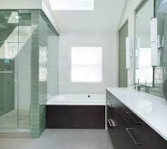 recycled beer bottle glass tile bathroom contemporary with dark