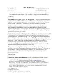 resume for business development resume for work in predictive analytics