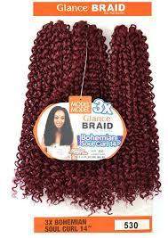 model model crochet hair model model glance braid 3x bohemian soul curl 14 inch