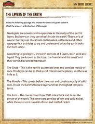 the layers of the earth u2013 printable science worksheet for 5th grade