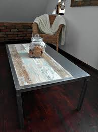 Handmade Industrial Furniture - crafted reclaimed wood steel coffee table handmade