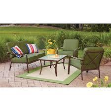 Patio Furniture From Walmart by Mainstays Crossman 4 Piece Patio Conversation Set Green Seats 4
