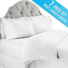 Duvet Covers For Queen Bed Amazon Com Complete 7 Piece Duvet Cover And Bed Sheets Set Queen