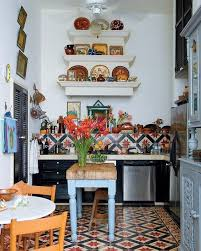 lively small boho chic kitchen design layout with ethnic patterned