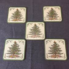 lot of 5 spode tree coasters in box cork back made in