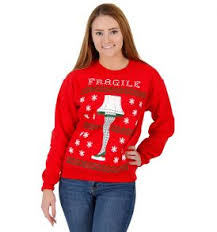 a christmas story leg l lights women s dabbin santa ugly christmas sweatshirt