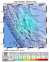 Washington State Earthquake Map by Dangerous Earthquake In Eastern Central Peru Well Felt In Lima