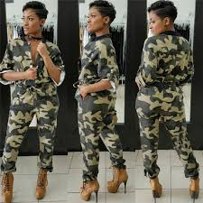 camouflage jumpsuit womens 2017 camouflage printed jumpsuit autumn roll up half sleeve