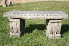 heavy and solid superb stone cast garden bench amazon co uk