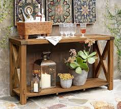 outdoor console table wood wine trough pottery barn
