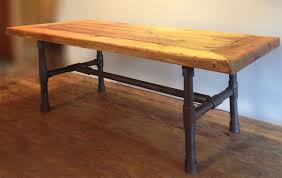 buy a handmade reclaimed wood pipe leg coffee table made to order