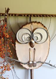 diy wood slice owl house of hawthornes