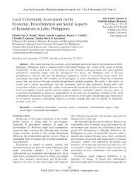 local community assessment on the economic environmental and