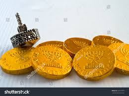 hanukkah chocolate coins chocolate coins silver dreidel hanukkah stock photo