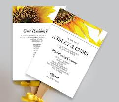 Fan Wedding Program Template Printable Yellow Sunflower Wedding Program Fan Diy Schedule Of