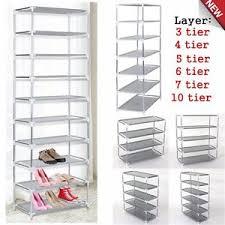 metal shoes rack stand storage organizer fabric shelf holder