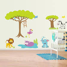 wall trees and jungle animals kids room decor premium quality wall trees and jungle animals kids room decor for imaginingA decals baby transform your kid nursery into