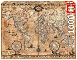 World Map Rug by Amazon Com Antique World Map 1000 Piece Puzzle Educa Toys U0026 Games