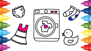 baby washing machine toys and clothes children coloring pages for